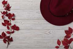 Hat burgundy color on a gray wooden background with autumn red l royalty free stock photo