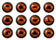 Hat Buttons. Twelve buttons with Hat icons isolated on white Royalty Free Stock Photography
