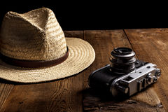 Hat and Camera Royalty Free Stock Image