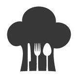 hat chef cook fork spoon knife restaurant emblem Royalty Free Stock Photo