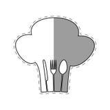 hat chef cook fork spoon knife restaurant emblem shadow Stock Image