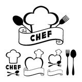Hat chef cook, fork, spoon, ribbon and heart. Stock Images