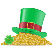 Hat clover and coins St. Patrick`s day  illu Stock Image
