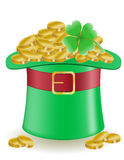 Hat clover and coins St. Patrick`s day  illu Royalty Free Stock Image