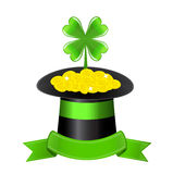 Hat, clover and golden coins Royalty Free Stock Image