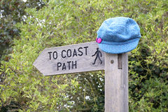 Hat on Coast Path Sign Royalty Free Stock Image