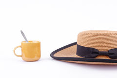 The hat and coffee cup on holiday summer Royalty Free Stock Photo