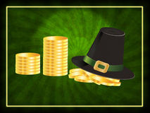 Hat and coins background Royalty Free Stock Images