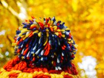 Hat with colorful pompom and golden leaves in the background royalty free stock photos