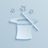 Hat of the conjurer paper icon. Royalty Free Stock Images