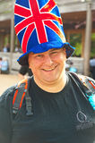 Hat decorated with Union Jack. Hat decorated with  Union Jack flag worn by a  man celebrating the Queen Elizabeth Silver Jubilee in London on 3rd June 2012 Royalty Free Stock Photos