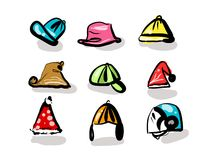 Hat and decoration. Head decoration with hat, Christmas party equipments, and helmet, icon pack, in daily life royalty free illustration