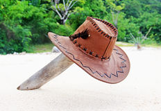 Hat on a desert island Royalty Free Stock Images