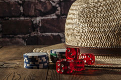 Hat and Dice Stock Photo