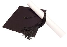 Hat and diploma Stock Photos