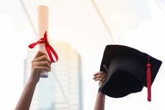 Hat and Diploma, Concept education congratulation in University. Graduation Ceremony stock photos