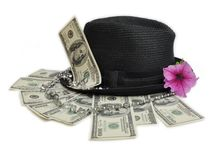 hat, dollarr and jewellery Royalty Free Stock Images