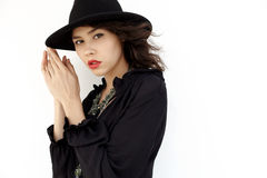 In hat and dress Royalty Free Stock Photo
