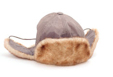 Hat with ear-flaps. Isolated on white Royalty Free Stock Images