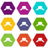 Hat with ear flaps icon set color hexahedron. Hat with ear flaps icon set many color hexahedron isolated on white vector illustration Royalty Free Stock Photography