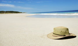 Hat on an empty beach Stock Photography