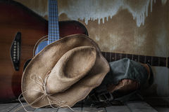 Hat and equipment in tour on wooden Royalty Free Stock Image