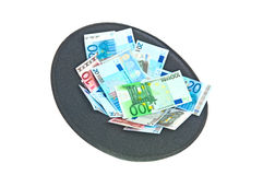 Hat with euro banknotes Royalty Free Stock Photography