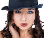 Hat. eyes and lips. Portrait female weared black hat isolated on white Stock Images