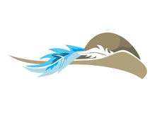 Hat with feather. Vector illustration Stock Photo