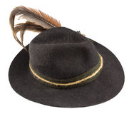 Hat with a feather. Tyrolean hat with a feather on a white background Royalty Free Stock Image