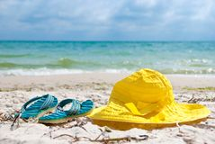 Hat and flip-flop Royalty Free Stock Photo