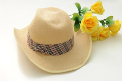 Hat and flower Stock Image