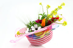 Hat and flower bouquet Royalty Free Stock Photos