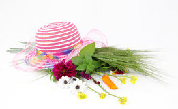 Hat and flower bouquet Royalty Free Stock Images