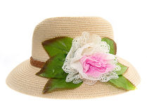 Hat with flower isolated over white background Stock Images