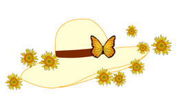 Hat with Flowers. Illustration of a ladies hat with flowers and a butterfly detail stock illustration