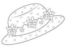 Hat with flowers coloring page. Useful as coloring book for kids Stock Photography