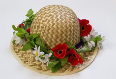 Hat with flowers Royalty Free Stock Images