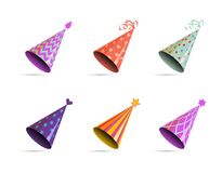 Free Hat For Birthday. Bright Multicolor Cone With Ribbon And Ornament For Holiday Party, Accessories For Celebration, Vector Royalty Free Stock Photos - 193230568