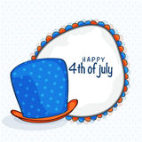Hat with frame for American Independence Day celebration. Royalty Free Stock Photo