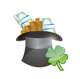Hat full of money. lucky illustration design Royalty Free Stock Photo