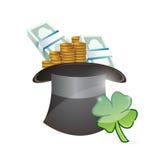 Hat full of money. lucky illustration design Royalty Free Stock Photo