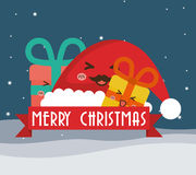 Hat and gifts cartoons of Chistmas design Stock Photos