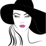 Hat girl. Silhouette of the woman in the black hat pink lipstick Stock Photography