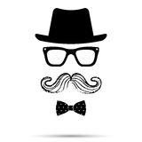Hat, Glasses , Bowtie and Mustache man Set. Vector illustration Stock Image