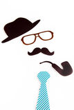 Hat glasses mustache pipe and necktie shapes Royalty Free Stock Photos