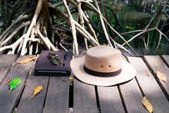 Hat, glasses, notebook and pen placed. On natural wood floor Royalty Free Stock Photo