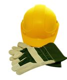 Hat & Gloves. Yellow construction Hat and protective gloves Stock Image