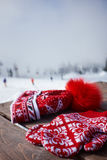 Hat and gloves on the background of snowy mountains Stock Photography