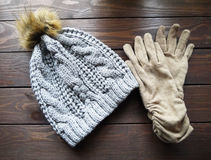 Hat and gloves stock photos